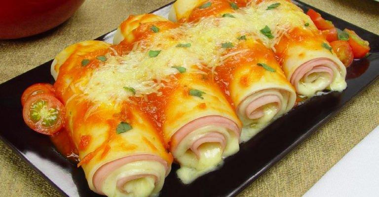 Canelone de presunto e queijo com massa de pastel - Canelone de presunto e queijo com massa de pastel