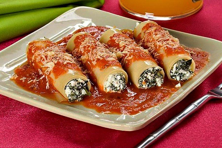 Canelone de Espinafre fácil e delicioso